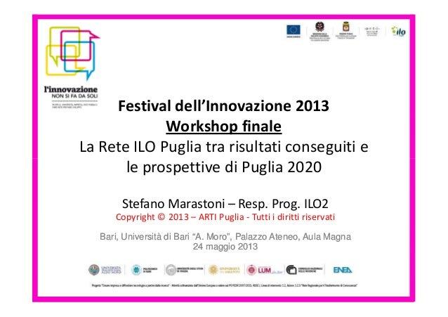 Festival dell'Innovazione 2013Workshop finaleLa Rete ILO Puglia tra risultati conseguiti ele prospettive di Puglia 2020le ...