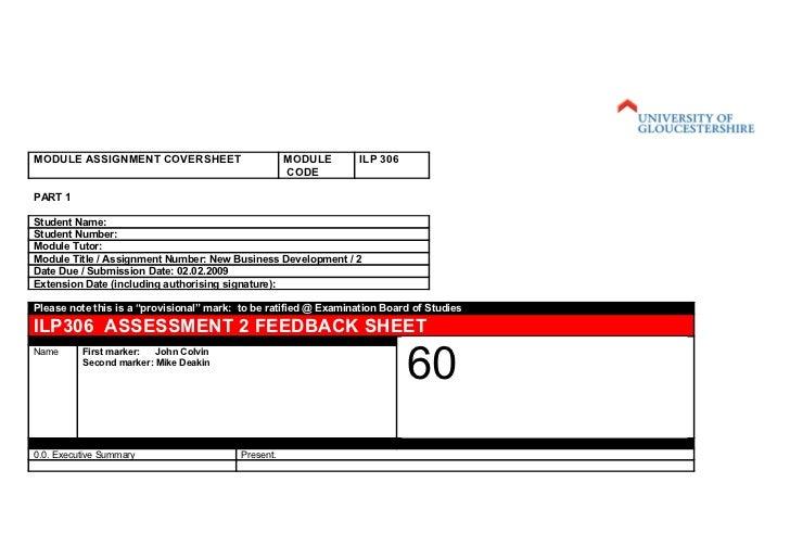 MODULE ASSIGNMENT COVERSHEET                         MODULE       ILP 306                                                 ...