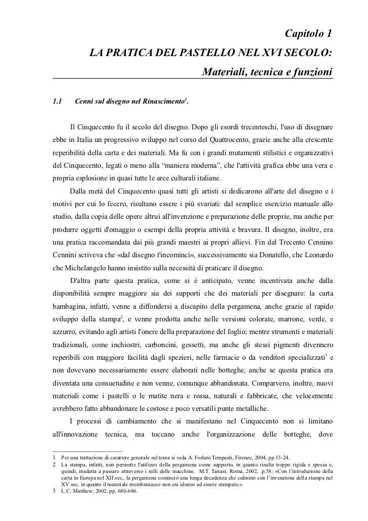 Capitolo 1                LA PRATICA DEL PASTELLO NEL XVI SECOLO:                                                         ...