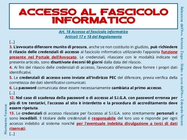 Art. 18 Accesso al fascicolo informatico Articoli 17 e 18 del Regolamento [...] 3. L'avvocato difensore munito di procura,...