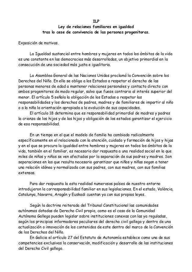 ILP Ley de relaciones familiares en igualdad tras lo cese de convivencia de las personas progenitoras. Exposición de motiv...