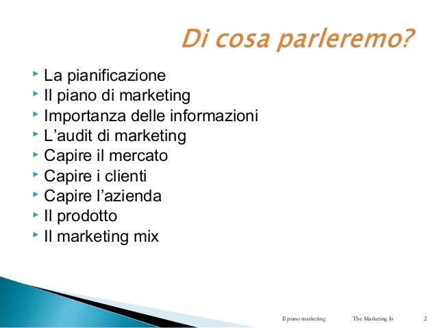 Il piano marketing Slide 2