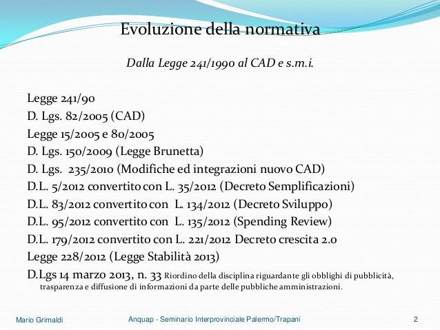 Il procedimento amministrativo informatico Slide 2