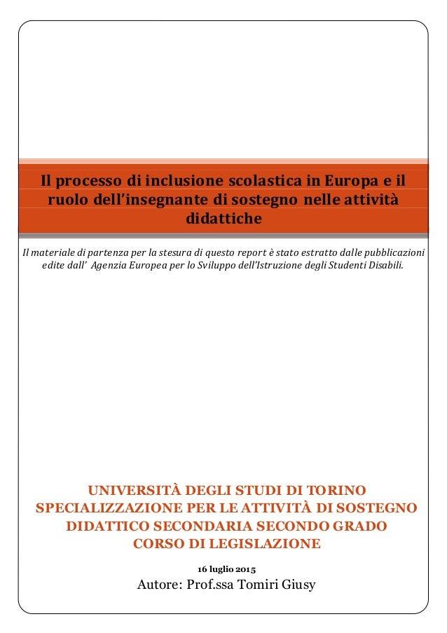 UNIVERSITÀ DEGLI STUDI DI TORINO SPECIALIZZAZIONE PER LE ATTIVITÀ DI SOSTEGNO DIDATTICO SECONDARIA SECONDO GRADO CORSO DI ...