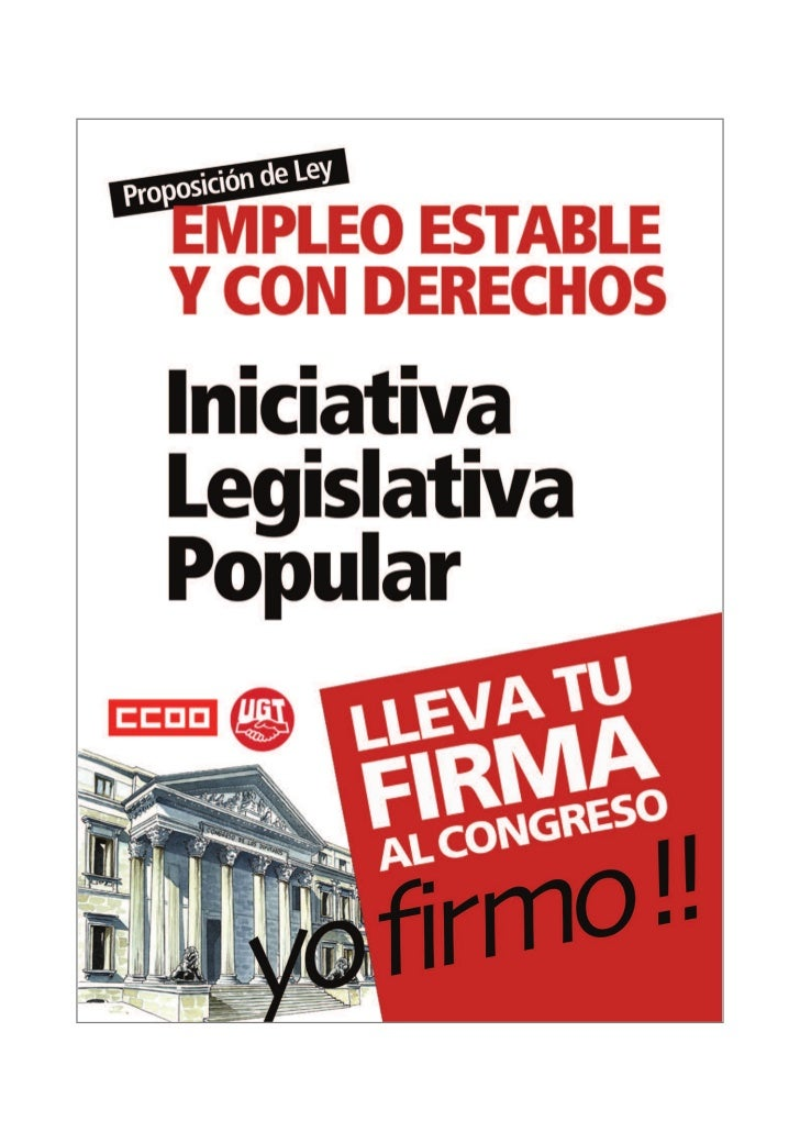 INICIATIVA LEGISLATIVA POPULAR 1    PROPOSICIÓN DE LEY DE INICIATIVA LEGISLATIVA POPULAR PARA EL EMPLEO                   ...