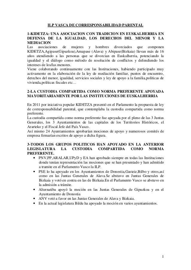 ILP VASCA DE CORRESPONSABILIDAD PARENTAL 1-KIDETZA: UNA ASOCIACION CON TRADICION EN EUSKALHERRIA EN DEFENSA DE LA IGUALDAD...
