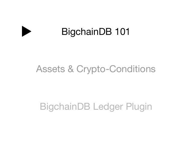 BigchainDB 101 Assets & Crypto-Conditions BigchainDB Ledger Plugin