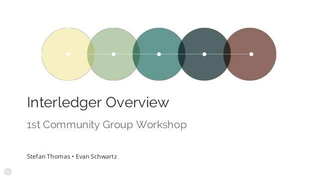 Interledger Overview Stefan Thomas • Evan Schwartz 1st Community Group Workshop