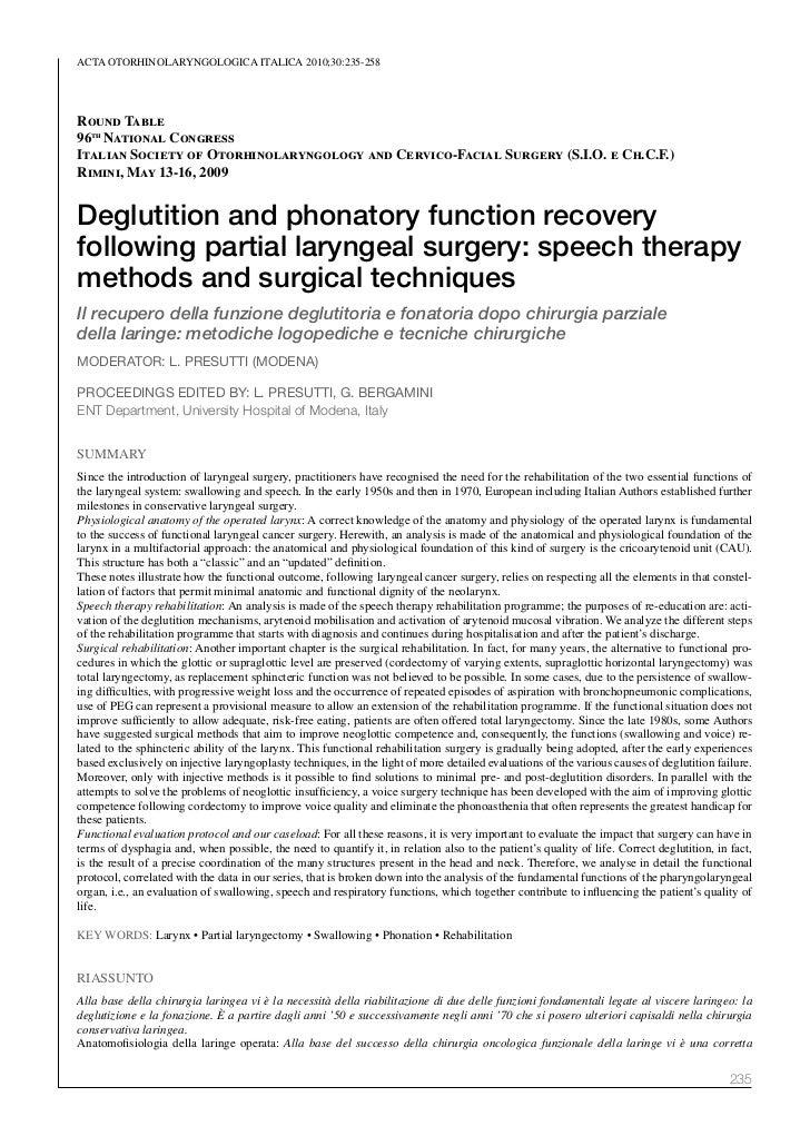 ACTA oTorhinolAryngologiCA iTAliCA 2010;30:235-258Round Table96th National CongressItalian Society of Otorhinolaryngology ...