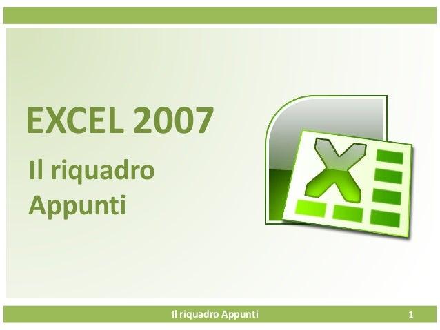 Il riquadro Appunti EXCEL 2007 Il riquadro Appunti 1