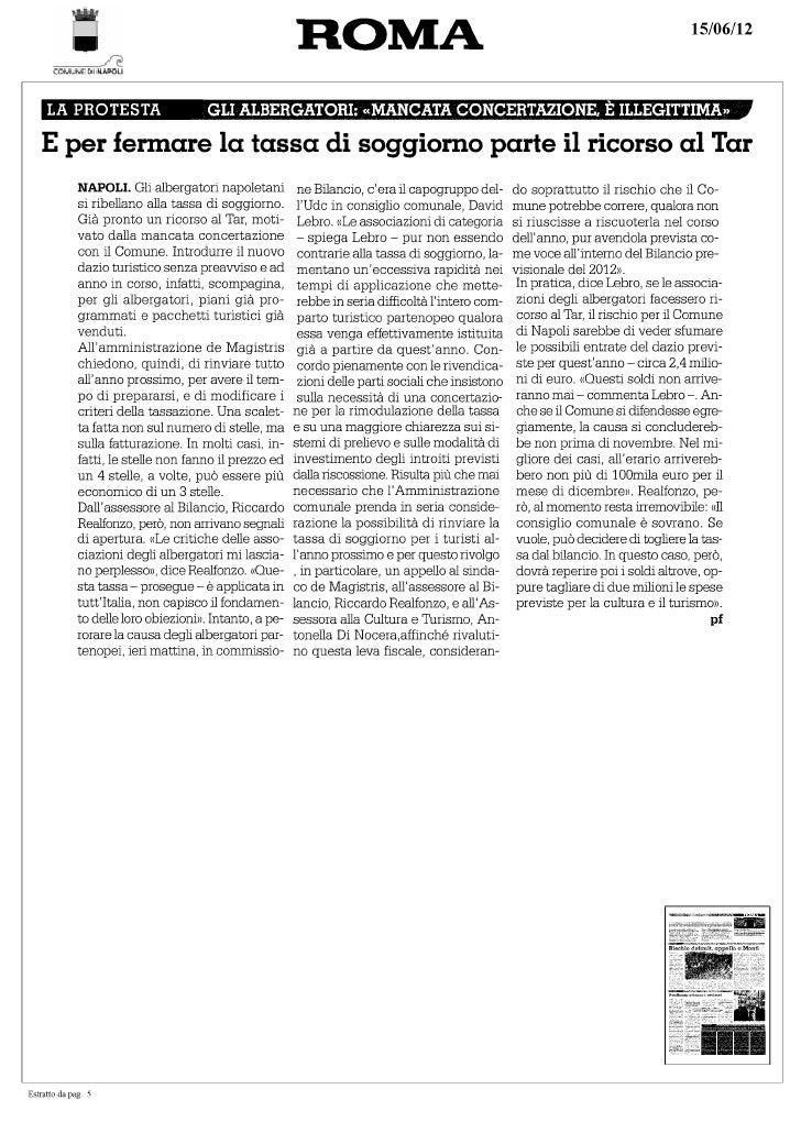 Il Roma su tassa di soggiorno - David Lebro