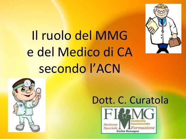 Il ruolo del MMG e del Medico di CA secondo l'ACN Dott. C. Curatola