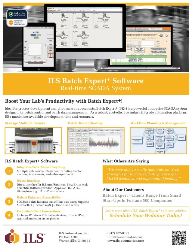 ILS Batch Expert+ Software Real-time SCADA System Ideal for process development and pilot-scale environments, Batch Expert...