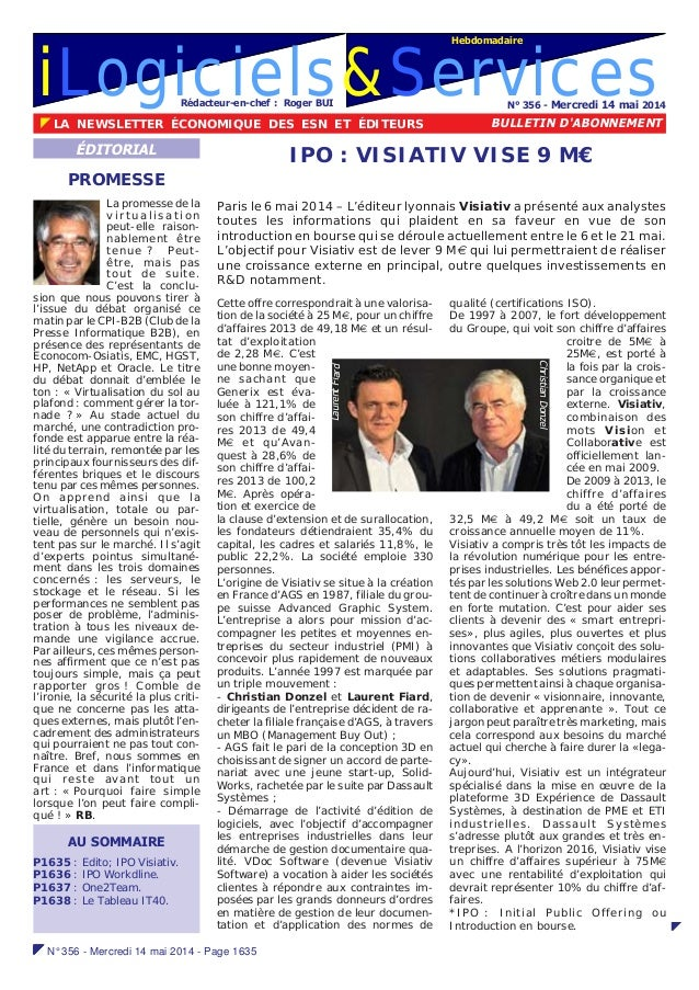 iLogiciels&Services !!!!! N° 356 - Mercredi 14 mai 2014 - Page 1635 N° 356 - Mercredi 14 mai 2014 ! LA NEWSLETTER ÉCONOMIQ...