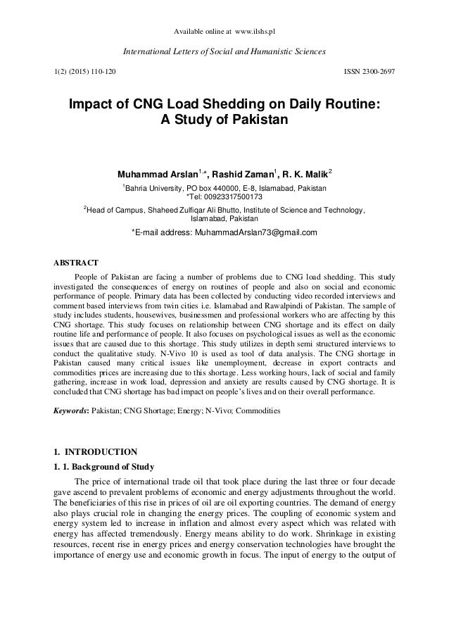 essay on cng load shedding in pakistan