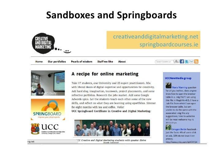 Sandboxes and Springboards                   crea%veanddigitalmarke%ng.net                            springboardc...
