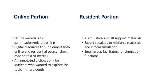 Online Portion Resident Portion • Online materials for gamification/microlearning • Digital resources to supplement both o...