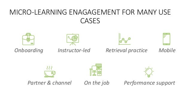MICRO-LEARNING ENAGAGEMENT FOR MANY USE CASES Onboarding Instructor-led Retrieval practice Mobile Partner & channel On the...