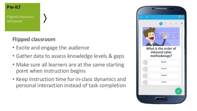 Flipped classroom • Excite and engage the audience • Gather data to assess knowledge levels & gaps • Make sure all learner...