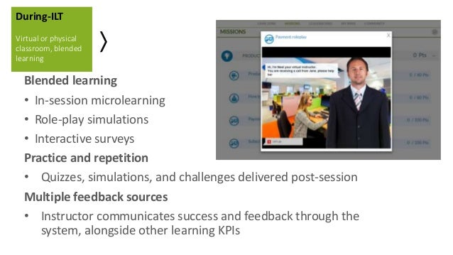 Blended learning • In-session microlearning • Role-play simulations • Interactive surveys Practice and repetition • Quizze...