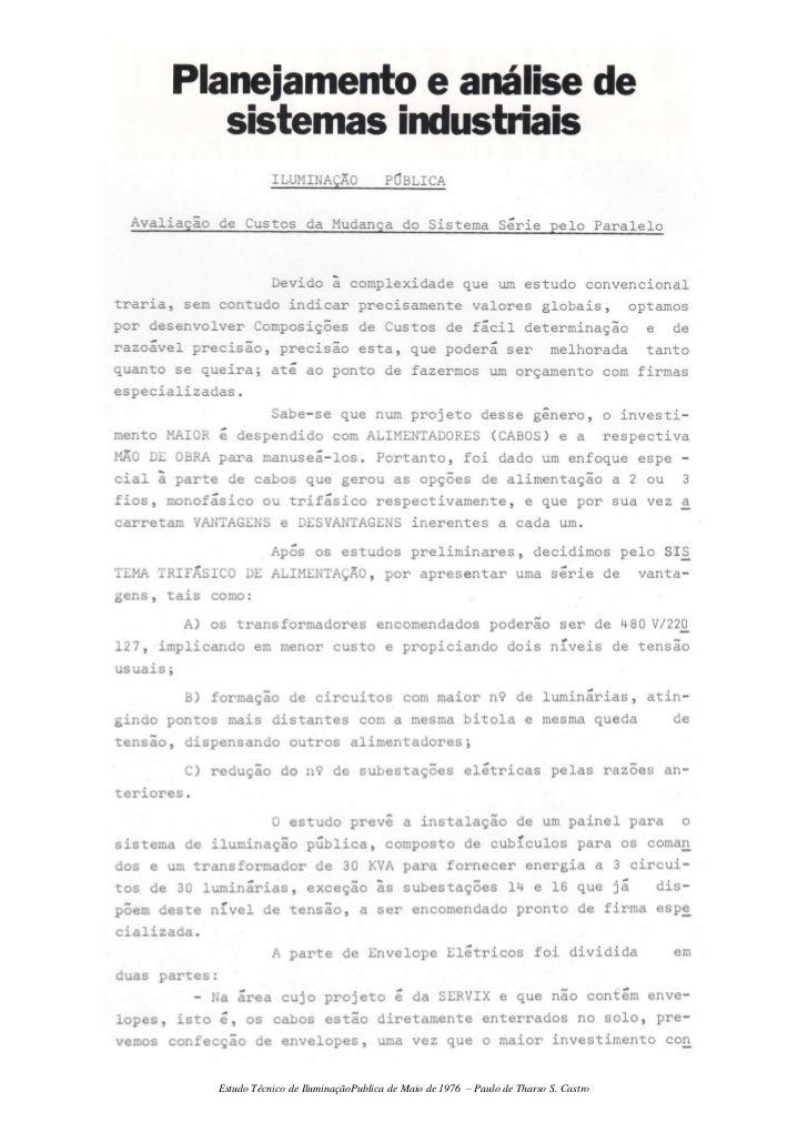Estudo Técnico de IluminaçãoPublica de Maio de 1976 – Paulo de Tharso S. Castro