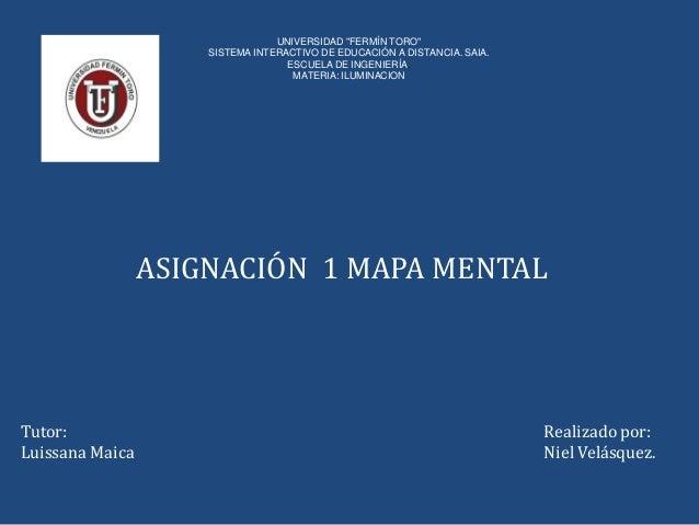 "UNIVERSIDAD ""FERMÍN TORO"" SISTEMA INTERACTIVO DE EDUCACIÓN A DISTANCIA. SAIA. ESCUELA DE INGENIERÍA. MATERIA: ILUMINACION ..."