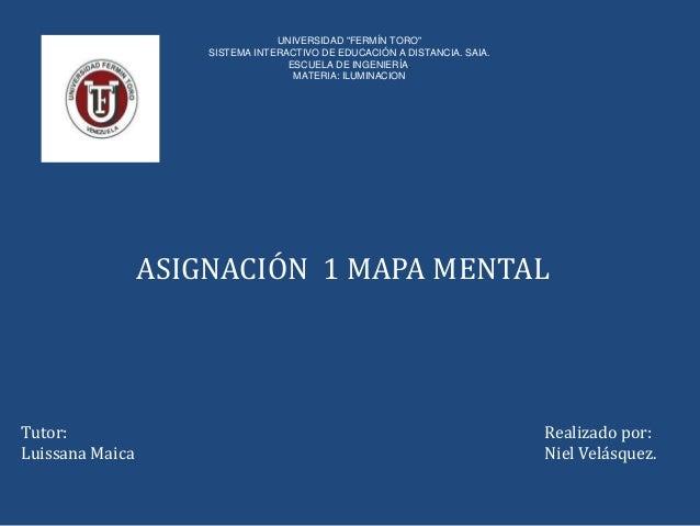 "UNIVERSIDAD ""FERMÍN TORO""  SISTEMA INTERACTIVO DE EDUCACIÓN A DISTANCIA. SAIA.  ESCUELA DE INGENIERÍA.  MATERIA: ILUMINACI..."
