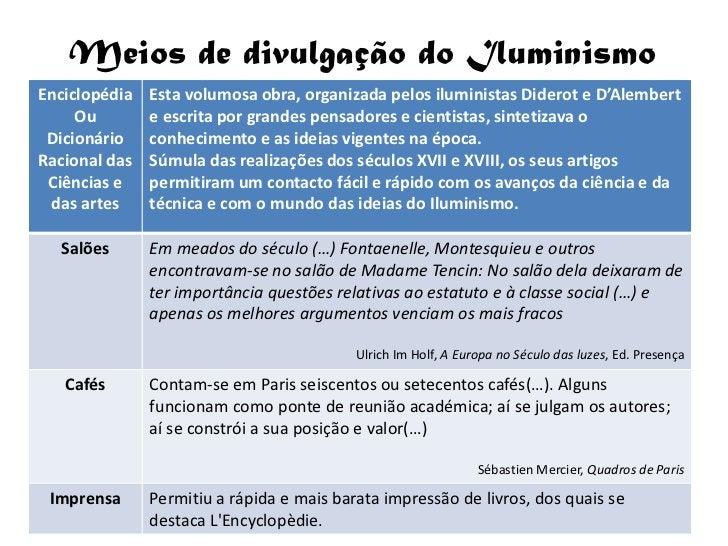 Meios de divulgação do Iluminismo Enciclopédia   Esta volumosa obra, organizada pelos iluministas Diderot e D'Alembert    ...
