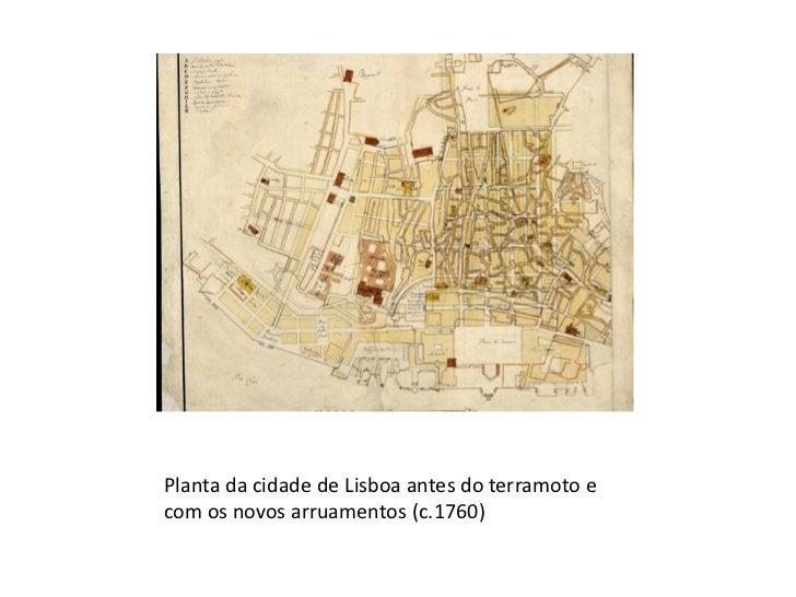 Planta da cidade de Lisboa antes do terramoto e com os novos arruamentos (c.1760)