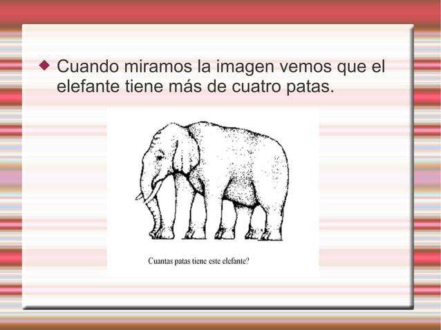  Cuando miramos la imagen vemos que el elefante tiene más de cuatro patas.
