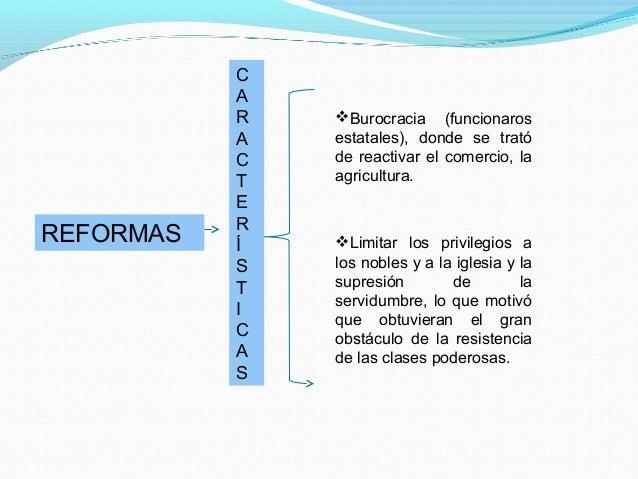 REFORMAS C A R A C T E R Í S T I C A S Burocracia (funcionaros estatales), donde se trató de reactivar el comercio, la ag...