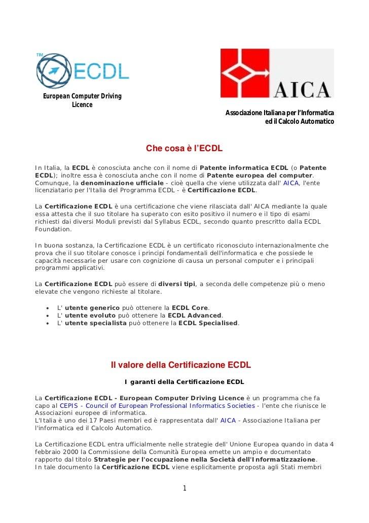 European Computer Driving           Licence                                                              Associazione Ital...