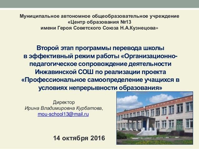 Второй этап программы перевода школы в эффективный режим работы «Организационно- педагогическое сопровождение деятельности...
