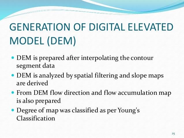 GENERATION OF DIGITAL ELEVATED  MODEL (DEM)   DEM is prepared after interpolating the contour  segment data   DEM is ana...