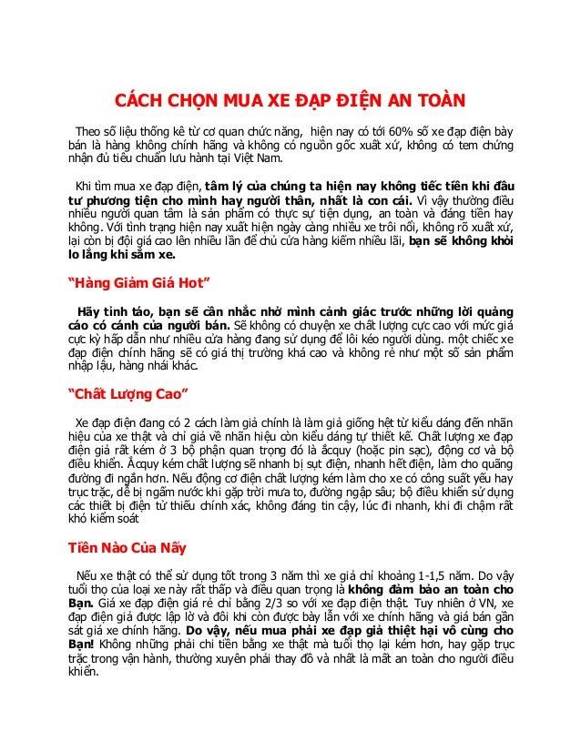 Trang web xe đạp điện mới ra - Trang web xe đạp điện Ninh Bình CÁCH CHỌN MUA XE ĐẠP ĐIỆN AN TOÀN Theo số liệu thống kê từ ...