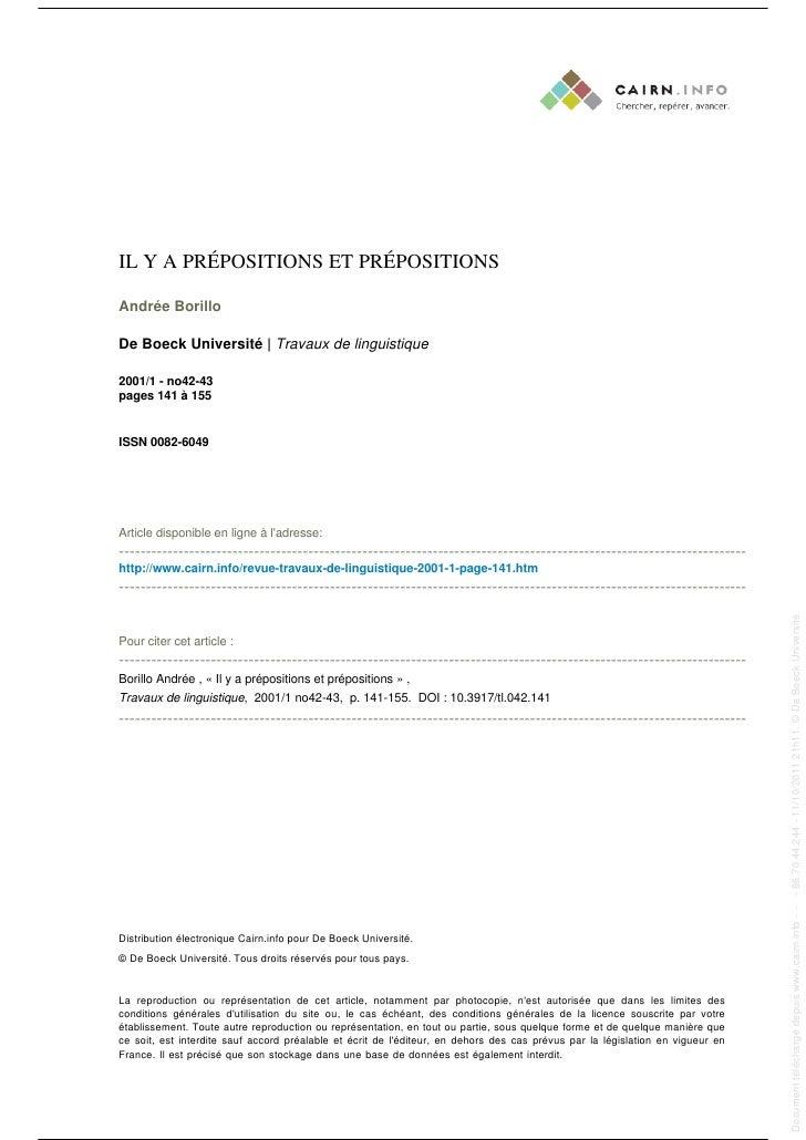 IL Y A PRÉPOSITIONS ET PRÉPOSITIONS                                                                                       ...