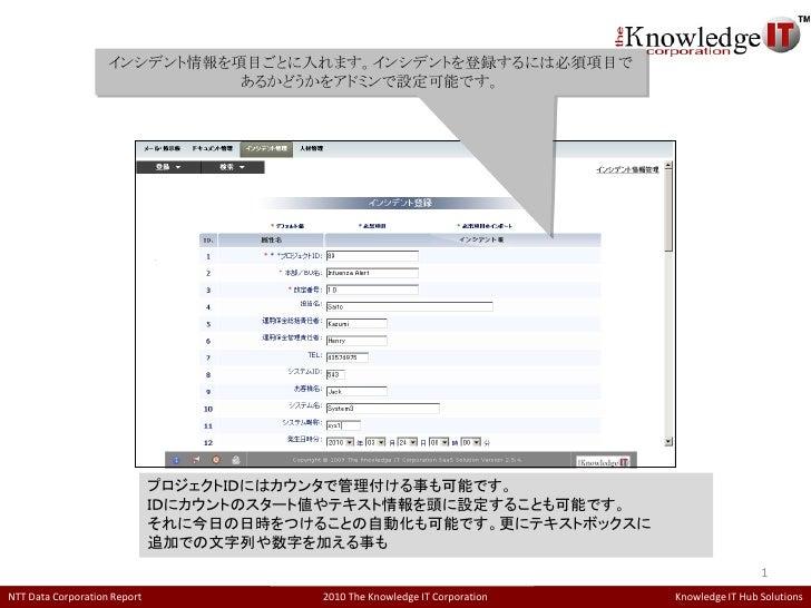 インシデント情報を項目ごとに入れます。インシデントを登録するには必須項目で                              あるかどうかをアドミンで設定可能です。                              プロジェクト...