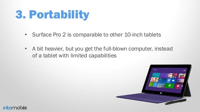 3. Portability • Surface Pro 2 is comparable to other 10-inch tablets • A bit heavier, but you get the full-blown computer...