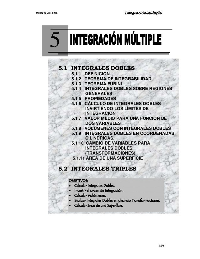 MOISES VILLENA Integración Múltiple 149 5 5.1 INTEGRALES DOBLES 5.1.1 DEFINICIÓN. 5.1.2 TEOREMA DE INTEGRABILIDAD 5.1.3 TE...
