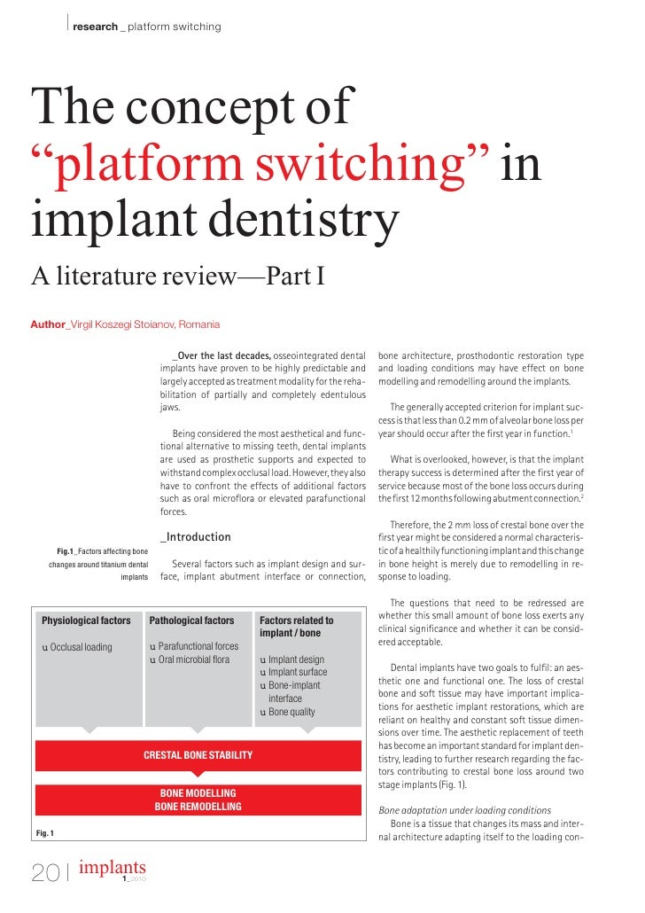 """I research _ platform switching   The concept of """"platform switching"""" in implant dentistry A literature review—Part I Auth..."""