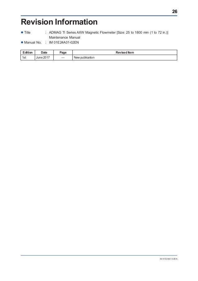 Maintenance Procedures For Yokogawa Admag Ti Series Axw Magnetic Flow