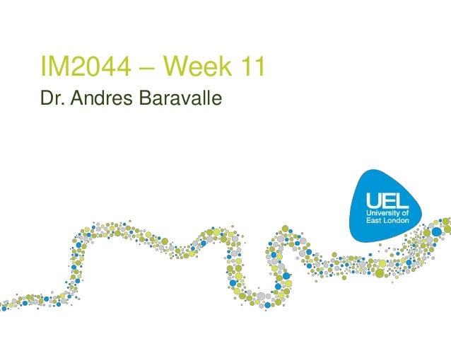 IM2044 – Week 11 Dr. Andres Baravalle