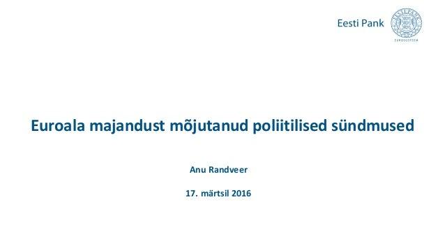 Euroala majandust mõjutanud poliitilised sündmused Anu Randveer 17. märtsil 2016
