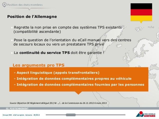 Position des états membres  Position de l'Allemagne       Regrette la non prise en compte des systèmes TPS existants (c...