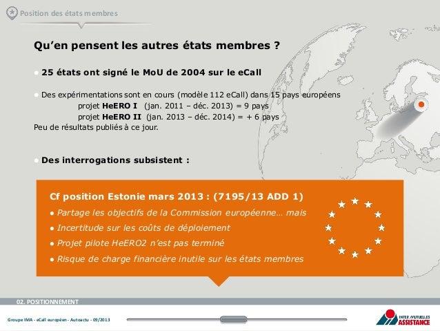 Position des états membres  Qu'en pensent les autres états membres ?   25 états ont signé le MoU de 2004 sur le eCall   ...