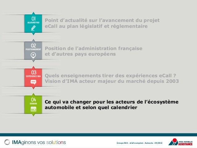Point d'actualité sur l'avancement du projet eCall au plan législatif et réglementaire  Position de l'administration franç...