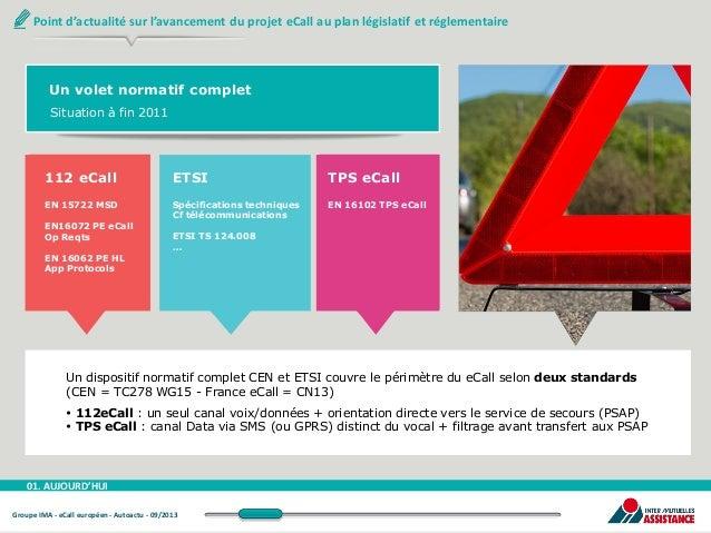 Point d'actualité sur l'avancement du projet eCall au plan législatif et réglementaire  Un volet normatif complet Situatio...