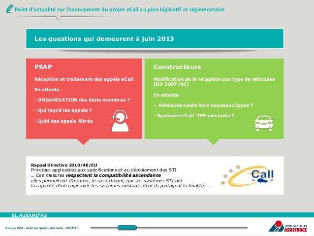 Point d'actualité sur l'avancement du projet eCall au plan législatif et réglementaire  Les questions qui demeurent à juin...