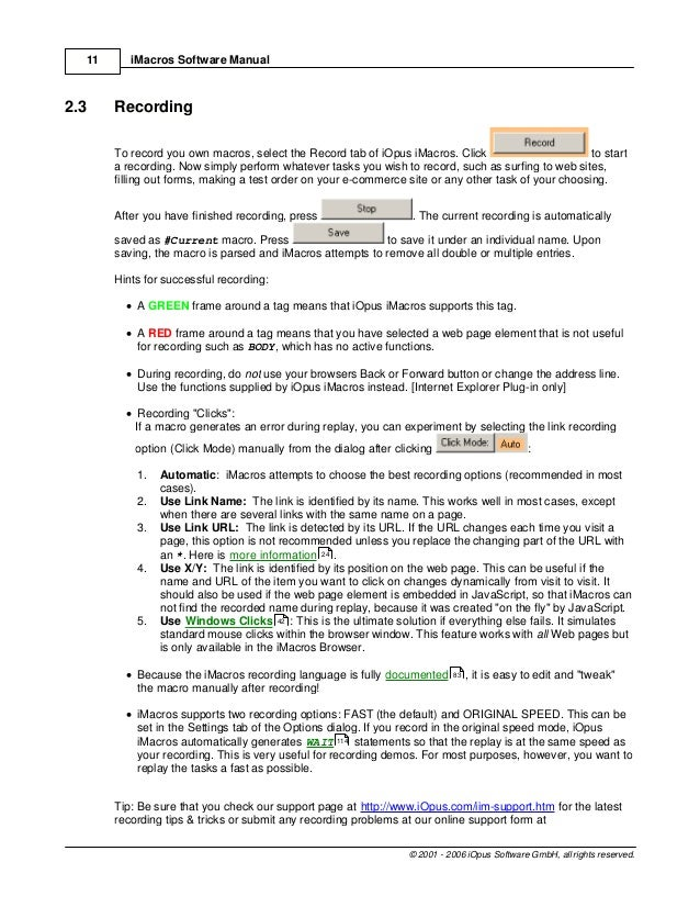 I macros manual