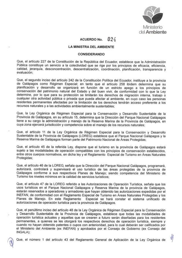 Acuerdo Ministerial Nro.: 024 del Ministerio del Ambiente